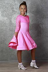 Рейтинговое платье Бейсик для бальных танцев Sevenstore 9109 Ярко розовый