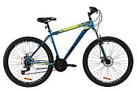 """Горный велосипед 27.5"""" Discovery TREK AM DD 2020 (голубой с желтым, рама 17.5"""")"""