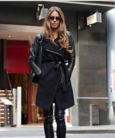 Женское кашемировое пальто на змейке с кожаными рукавами в расцветках Ш667
