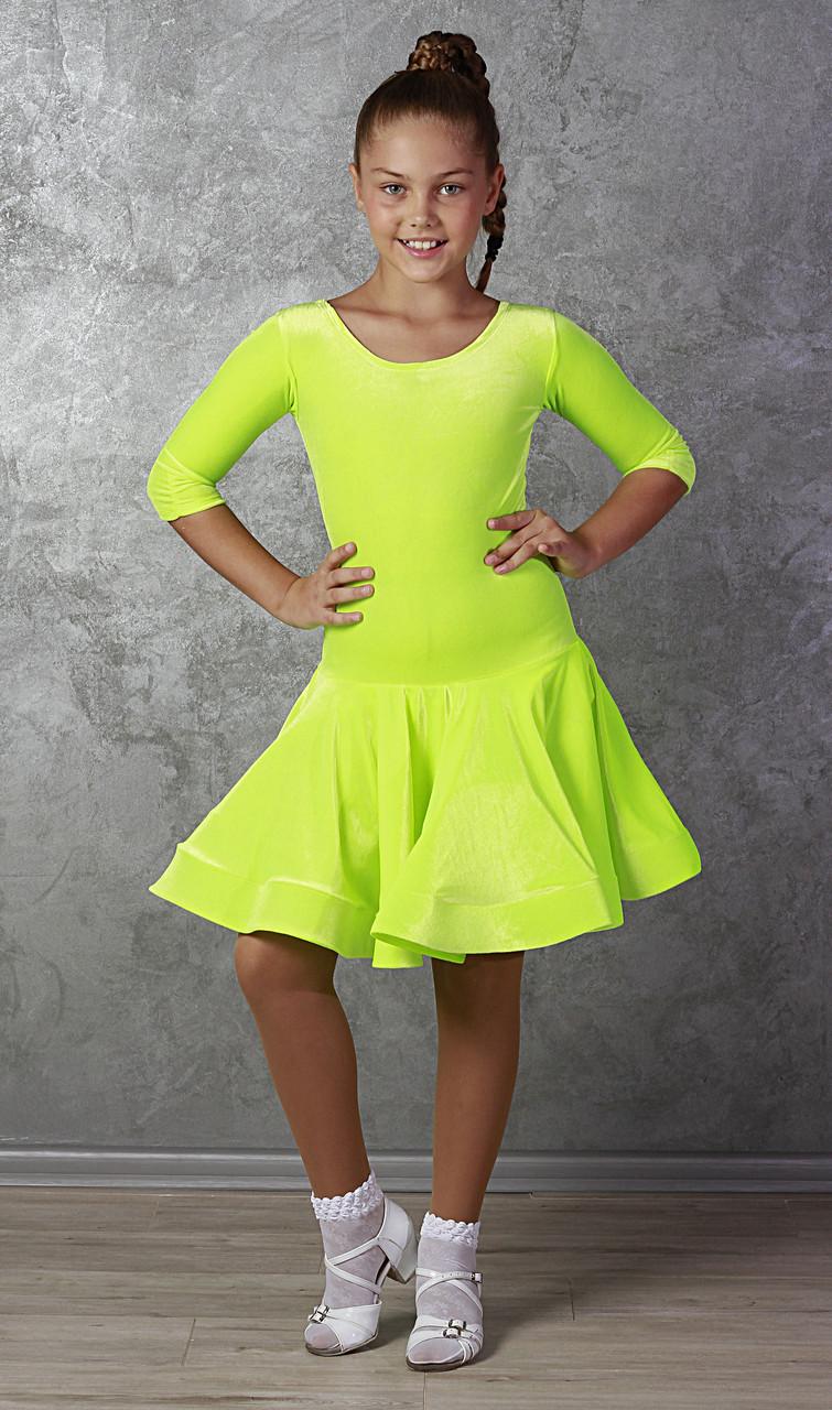 Рейтинговое платье Бейсик для бальных танцев Sevenstore 9147 лимон