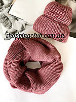 Комплект женская шапка + шарф (хомут снуд) лиловый