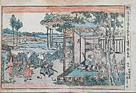 Японская гравюра 47 самураев Сюнсё кон.18 века период Эдо