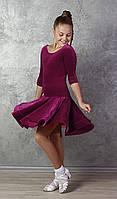 Рейтинговое платье Бейсик для бальных танцев Sevenstore 9147 Бордовый