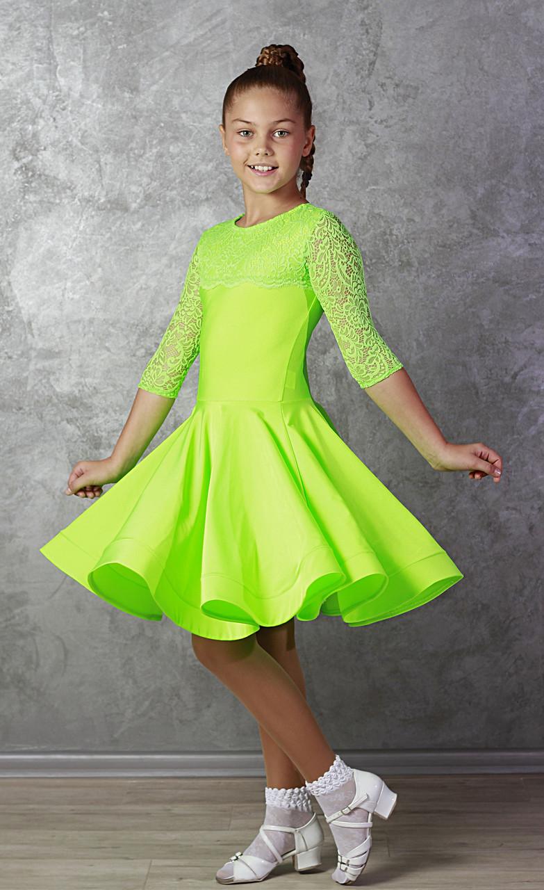 Рейтинговое платье Бейсик для бальных танцев Sevenstore 9109 Салатовый