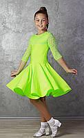 Рейтинговое платье Бейсик для бальных танцев Sevenstore 9109 Салатовый 36