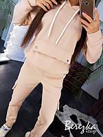 Женский спортивный костюм утепленный флисом с худи и карманами 6605779Е