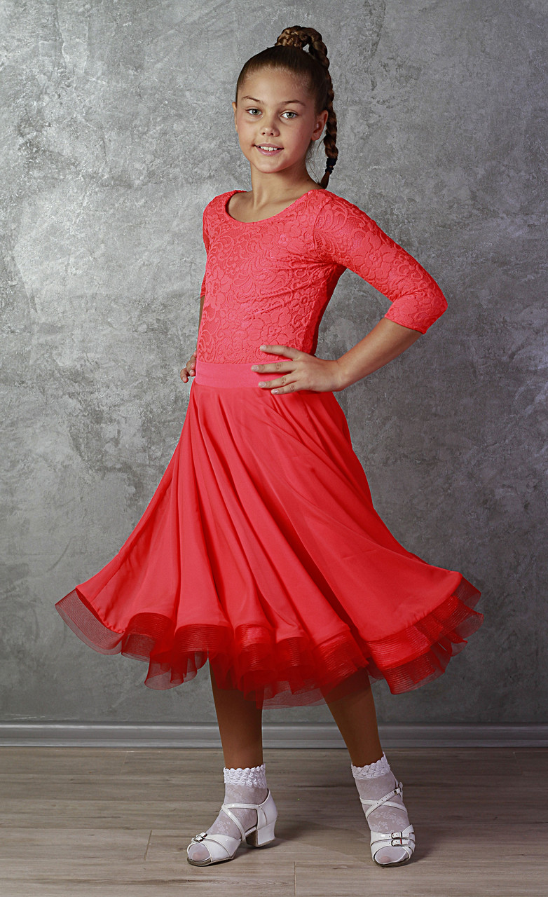 Рейтингове плаття для бальних танців Sevenstore 9148 кораловий