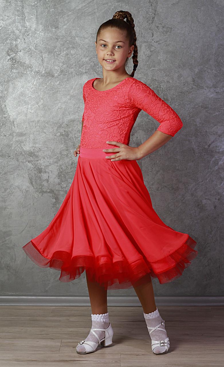 Рейтинговое платье для бальных танцев Sevenstore 9148 коралловый