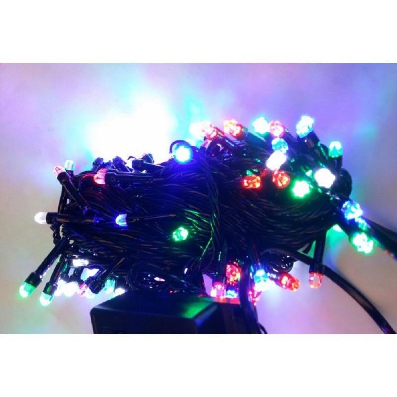 Гирлянда кристалл 300 LED 23м разноцветная на черном проводе
