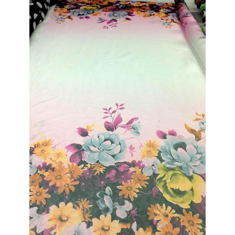 Шифон принт - купон двух сторонний, фон молочный крупные цветы