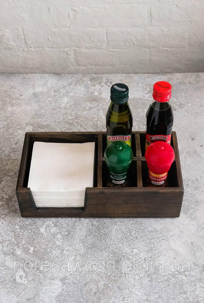 Сафетница из ясеня с отделениями под соль и специи