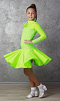 Рейтинговое платье Бейсик для бальных танцев Sevenstore 9149 Салатовый