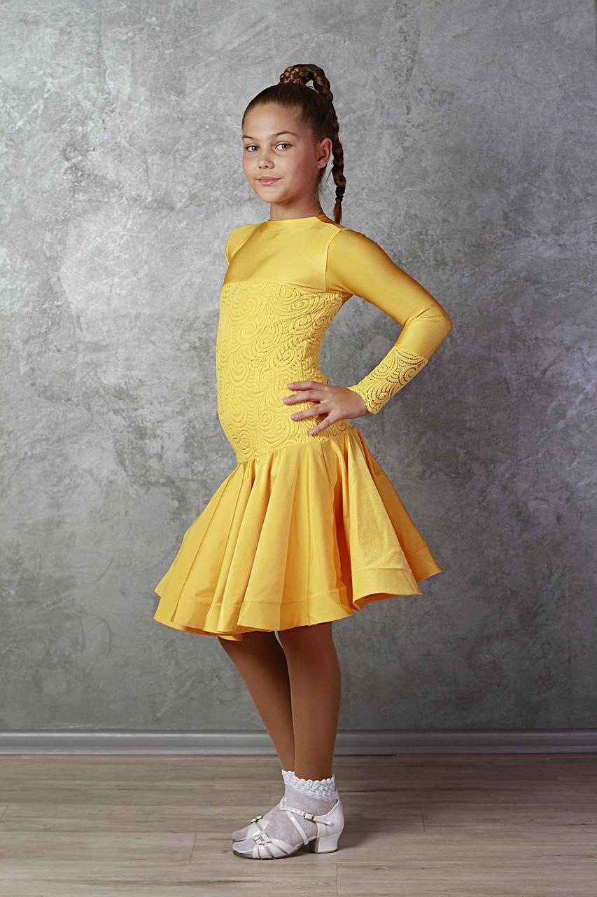 Рейтинговое платье Бейсик для бальных танцев Sevenstore 9149 Желтый