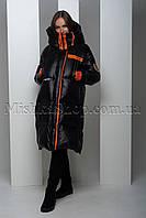 Эксклюзивный длинный оверсайз пуховик на натуральном пуху чёрного цвета Maxswag 1921, фото 1