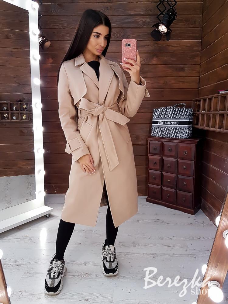 Женское кашемировое Пальто на подкладе под пояс с отложным воротником 66pt224Q