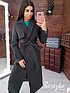 Женское кашемировое Пальто на подкладе под пояс с отложным воротником 66pt224Q, фото 5