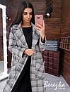 Женское кашемировое Пальто в клетку длиной миди с воротником и поясом 66pt225Е, фото 3