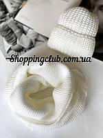 Комплект женская шапка + шарф (хомут снуд) белый