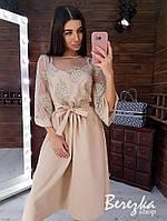 Платье миди с расклешенной юбкой и кружевом на сетке 66py199Е