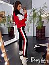 Трехцветный женский утепленный спортивный костюм с молнией на груди 66so780Е, фото 6