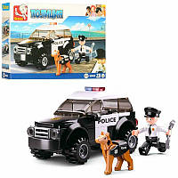 Конструктор SLUBAN M38-B0639 полиция, машина, фигурка, собака, 78дет,в кор-ке 19-14-4,5см