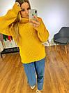 Женский объемный свитер с большим высоким воротником 3ddet639, фото 5