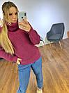 Женский объемный свитер с большим высоким воротником 3ddet639, фото 7