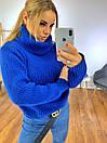 Женский объемный свитер с большим высоким воротником 3ddet639, фото 8