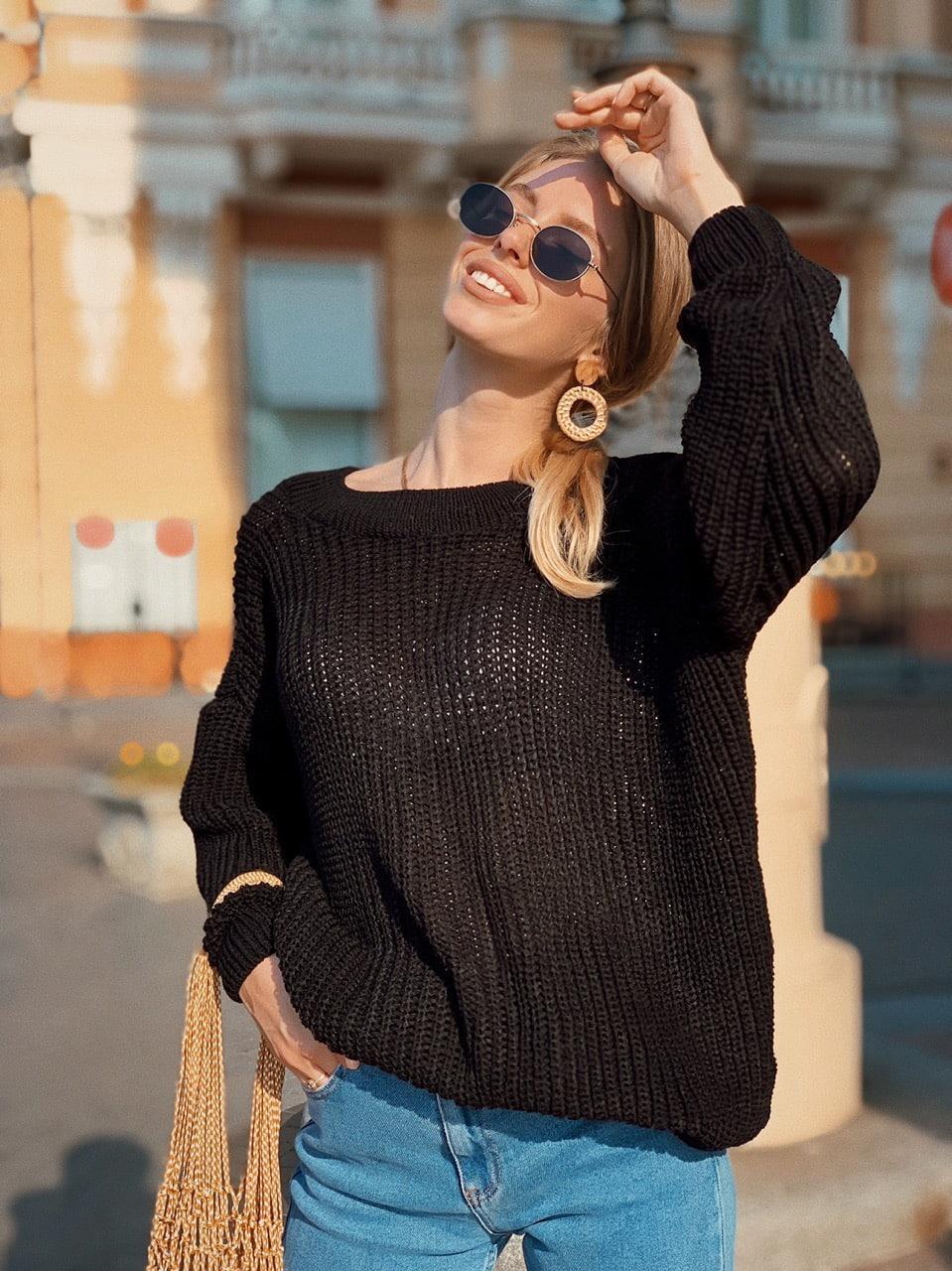 Женский свободный вязаный свитер с вырезом 73ddet644