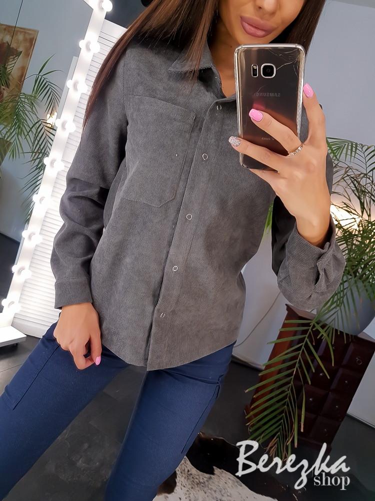 Вельветовая женская рубашка прямого кроя 66bir312Q