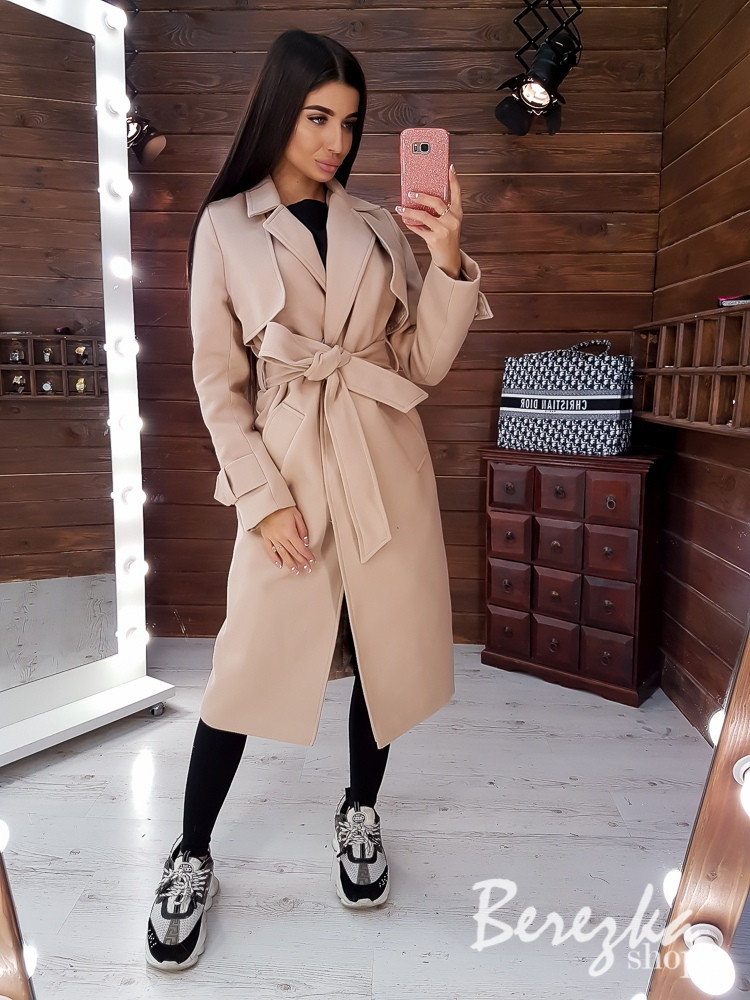 Женское кашемировое Пальто на подкладе под пояс с отложным воротником 66pal224Q