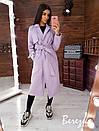 Женское кашемировое Пальто на подкладе под пояс с отложным воротником 66pal224Q, фото 3