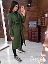 Женское кашемировое Пальто на подкладе под пояс с отложным воротником 66pal224Q, фото 6