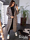 Женское кашемировое Пальто в клетку длиной миди с воротником и поясом 66pal225Е, фото 2