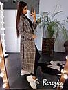 Женское кашемировое Пальто в клетку длиной миди с воротником и поясом 66pal225Е, фото 3