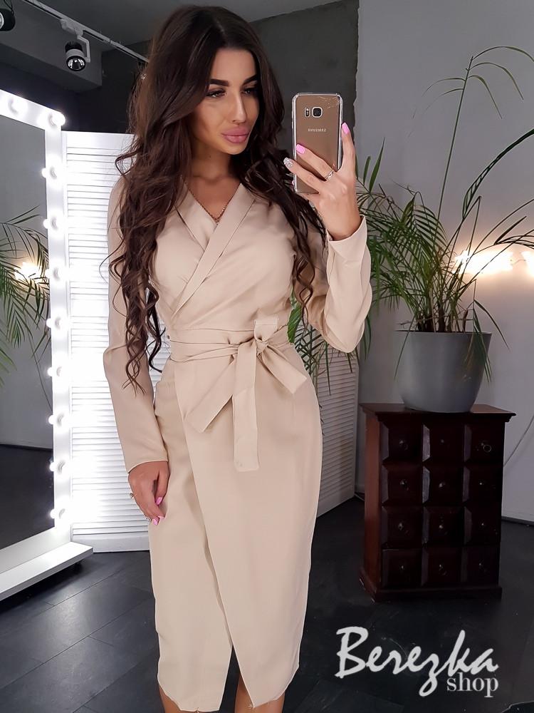 Платье пиджак на запах с длинным рукавом и поясом 66plt194Q
