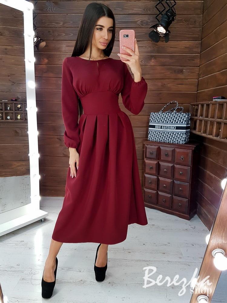 Платье миди с широким поясом на талии и расклешенной юбкой 66plt197Е