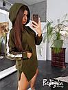 Прямое платье худи из трехнитки на флисе с капюшоном 66plt200Е, фото 3