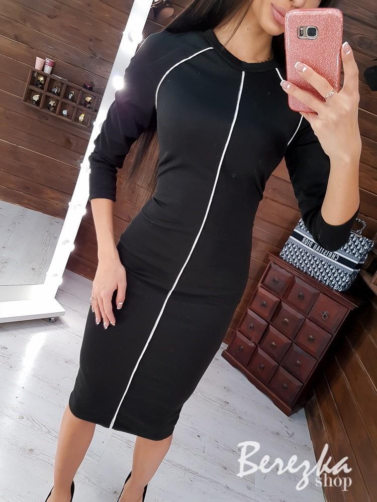 Трикотажное платье по фигуре с рукавом регланом 3/4 66plt201Е
