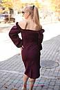 Платье - футляр с открытыми плечами и фигурным вырезом горловины 2plt205, фото 3