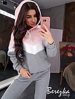 Теплый женский спортивный костюм на флисе с худи 66spt773Q