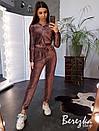 Женский спортивный костюм из люрекса с укороченной кофтой на молнии 66spt786Е, фото 2