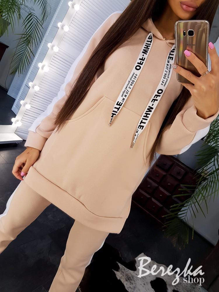 Женский спортивный костюм с удлиненным худи на флисе 66spt787Е