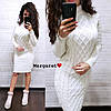 Платье вязка (длина 105см, цвет: белый, пудра, хаки, синий, розовый, бордо, серый)