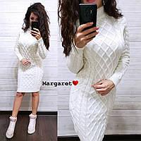 Платье вязка (длина 105см, цвет: белый, пудра, хаки, синий, розовый, бордо, серый), фото 1