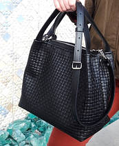 521-XL Натуральная кожа, Сумка женская черная с тиснением 3D кожаная черная женская сумка мягкая, фото 3