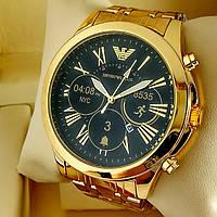 Мужские кварцевые наручные часы Emporio Armani T106 золотого цвета с черным циферблатом с датой