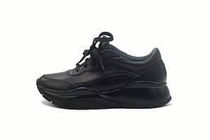 Черные кожаные женские кроссовки