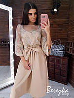 Платье миди с расклешенной юбкой и кружевом на сетке 66mpl199Е