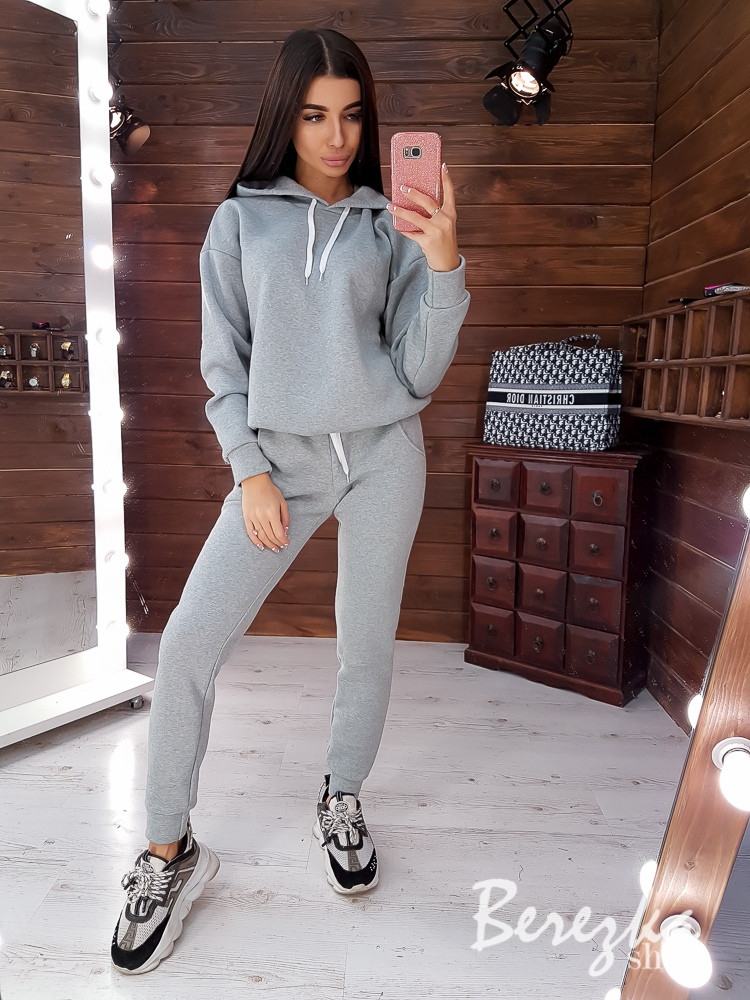 Теплый женский спортивный костюм с худи и штанами на манжетах 66msp776Q, фото 1
